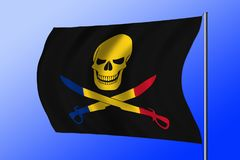 Waving pirate flag combined with Romanian flag. Waving black pirate flag with the image of Jolly Roger with cutlasses combined with colors of the Romanian flag Royalty Free Stock Image