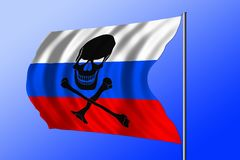 Waving pirate flag combined with Russian flag Royalty Free Stock Photo