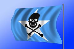 Waving pirate flag combined with Somalian flag. Waving Somalian flag combined with the black pirate image of Jolly Roger with crossbones Royalty Free Stock Photography