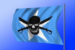 Waving pirate flag combined with Somalian flag. Waving Somalian flag combined with the black pirate image of Jolly Roger with cutlasses Stock Image