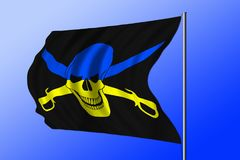 Waving pirate flag combined with Ukrainian flag Stock Photography