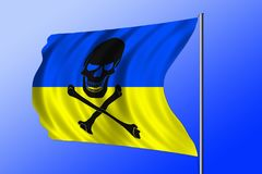 Waving pirate flag combined with Ukrainian flag Stock Photos