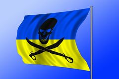 Waving pirate flag combined with Ukrainian flag Stock Photo