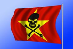 Waving pirate flag combined with Vietnamese flag. Waving Vietnamese flag combined with the black pirate image of Jolly Roger with crossbones Royalty Free Stock Photography