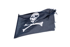 Waving pirate flag jolly roger isolated on white Stock Image