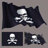 Waving Pirate Flag Skull and Bones Stock Photo