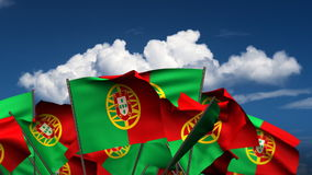 Waving Portuguese Flags stock footage