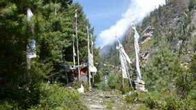 Waving prayer flags in Nepal stock video