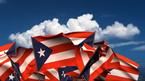 Waving Puerto Rican Flags stock video footage