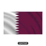 Waving Qatar flag on a white background. Vector illustration Royalty Free Stock Images