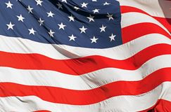 Waving Real American Flag. Waving Real Textile American Flag Closeup Photography. United States of America Nation Flag Stock Photography