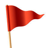 Waving Red Triangular Flag Stock Image