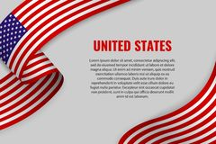 Waving ribbon with flag. Waving ribbon or banner with flag of United States of America. Template for poster design vector illustration