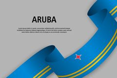 Waving ribbon with Flag of Aruba,. Template for Independence day banner. vector illustration stock illustration