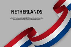 Waving ribbon with Flag of Netherlands stock illustration