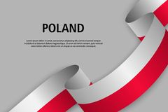 Waving ribbon with Flag of Poland, stock illustration