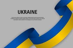 Waving ribbon with Flag of Ukraine, vector illustration
