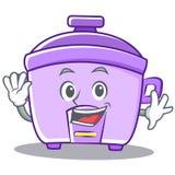 Waving rice cooker character cartoon Royalty Free Stock Image