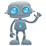Waving Robot. Vector cartoon illustration of a cute and friendly robot with blue eyes waving hello vector illustration