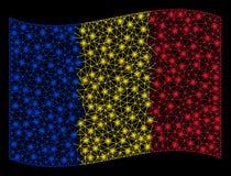 Waving Romania Flag Mesh Illustration with Flash Effect stock photos