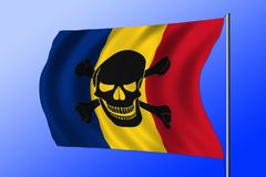 Waving pirate flag combined with Romanian flag. Waving Romanian flag combined with the black pirate image of Jolly Roger with crossbones Royalty Free Stock Photography