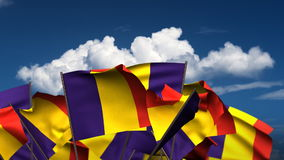 Waving Romanian Flags stock video footage