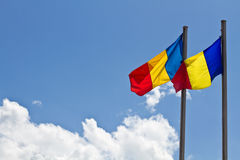 Waving romanian flags Royalty Free Stock Photography