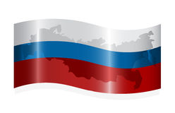Waving russian flag. With map of the Russian Federation. Vector-Illustration Royalty Free Stock Photos