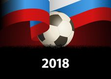 Russian flag with soccer ball Royalty Free Stock Photography