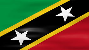 Waving Saint Kitts and Nevis Flag, ready for seamless loop Royalty Free Stock Images