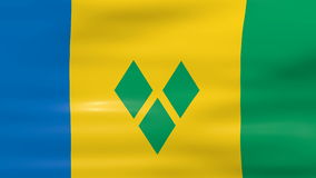 Waving Saint Vincent and The Grenadines Flag, ready for seamless loop Stock Photos
