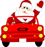 Waving Santa Claus in car. Illustration of waving Santa Claus driving car, isolated on white background Stock Photos