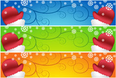 Waving Santa Scroll Banners Royalty Free Stock Image