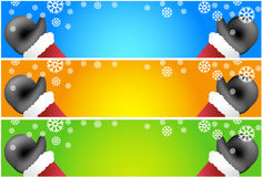 Waving Santa Scroll Banners Royalty Free Stock Photography