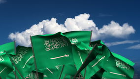 Waving Saudi Arabian Flags stock footage