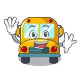 Waving school bus character cartoon royalty free illustration