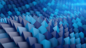 Waving sci-fi surface. Abstract 3D render. Waving sci-fi blue surface. Abstract 3D render illustration Stock Photo