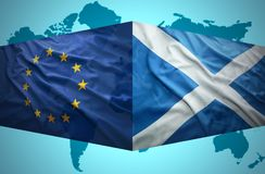Waving Scottish and European Union flags Royalty Free Stock Photography