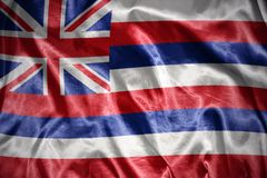 Shining hawaii state flag. Waving and shining hawaii state flag stock images