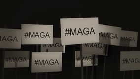 Waving signs of protest or awareness series - #MAGA - Make America Great Again