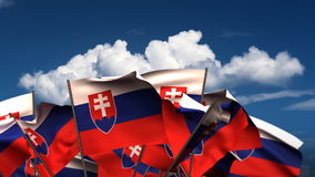 Waving Slovakian Flags stock video