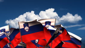 Waving Slovenian Flags stock video
