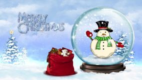 Waving Snowman in a Snow Globe Merry Christmas stock footage