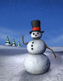 Waving Snowman Vertical royalty free stock images