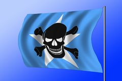 Waving pirate flag combined with Somalian flag. Waving Somalian flag combined with the black pirate image of Jolly Roger with crossbones Stock Photos