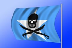 Waving pirate flag combined with Somalian flag. Waving Somalian flag combined with the black pirate image of Jolly Roger with cutlasses Stock Images