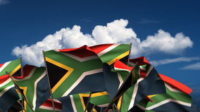 Waving South African Flags stock footage