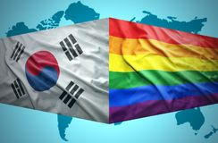 Waving South Korea and Gay flags stock illustration