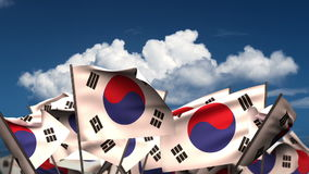 Waving South Korean Flags stock video footage