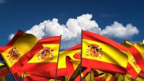 Waving Spanish Flags stock video footage